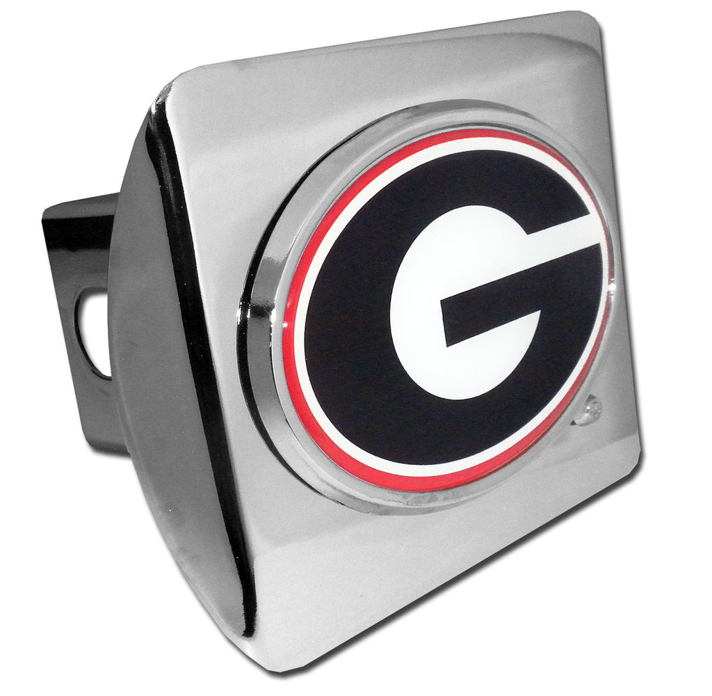 "Georgia Bulldogs Shiny Chrome Metal Hitch Cover (""G"" w/ Color) NCAA"