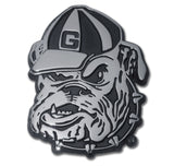 Georgia Bulldogs Chrome Metal Auto Emblem (Bulldog Head) NCAA