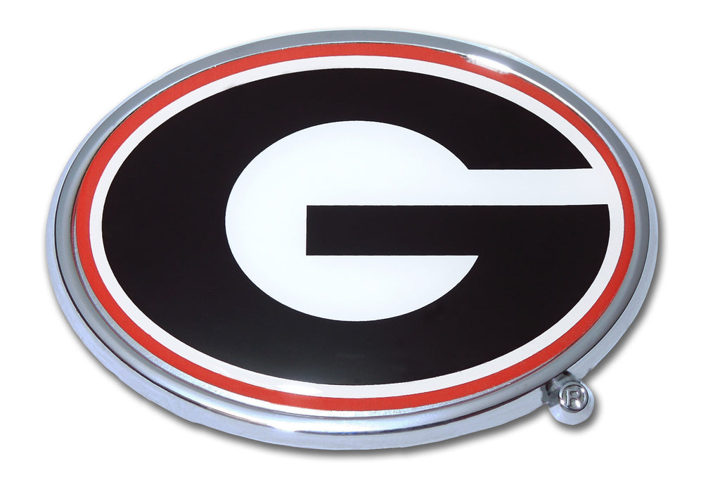 "Georgia Bulldogs Chrome Metal Auto Emblem (""G"" with color) NCAA"