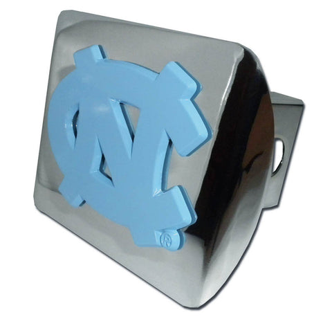 "North Carolina Tar Heels Shiny Chrome Metal Hitch Cover (Powder Blue ""NC"") NCAA"