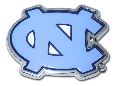 "North Carolina Tar Heels Chrome Metal Auto Emblem (""NC"" w/ Color) NCAA"