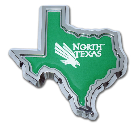 North Texas Mean Green Chrome Metal Auto Emblem (TX Shape w/ Color) NCAA