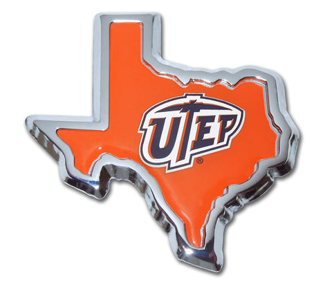 Texas El-Paso UTEP Miners Chrome Metal Auto Emblem (Texas Shape) NCAA