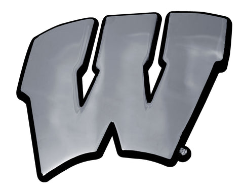 "Wisconsin Badgers Chrome Metal Auto Emblem (""W"" w/Black Outline) NCAA"