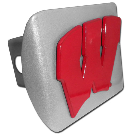 "Wisconsin Badgers Brushed Chrome Metal Hitch Cover (Red ""W"") NCAA"
