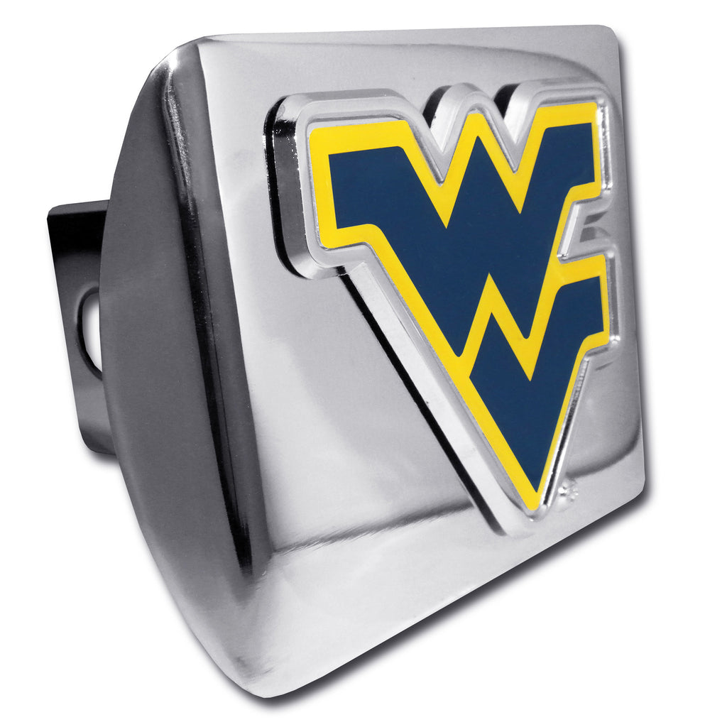 "West Virginia Mountaineers Shiny Chrome Metal Hitch Cover (Blue ""WV"") NCAA"