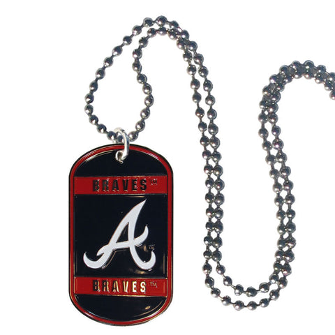 Atlanta Braves Metal Tag Necklace MLB Licensed Baseball Jewelry