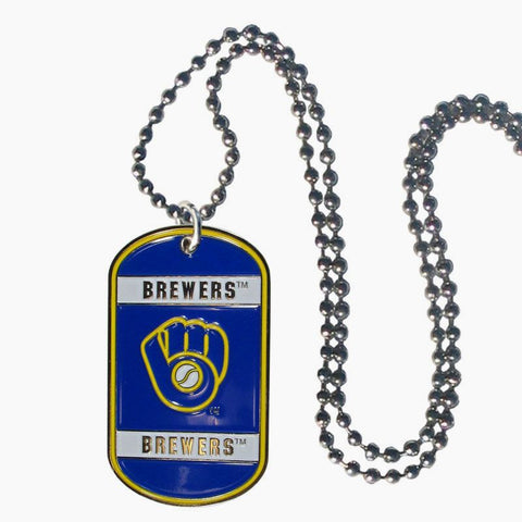 Milwaukee Brewers Metal Tag Necklace MLB Licensed Baseball