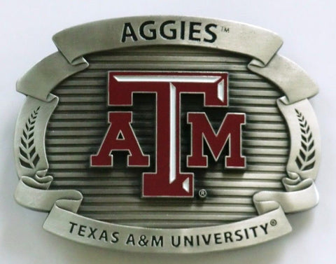"Texas A&M Aggies Over-sized 4"" Pewter Metal Belt Buckle (NCAA)"