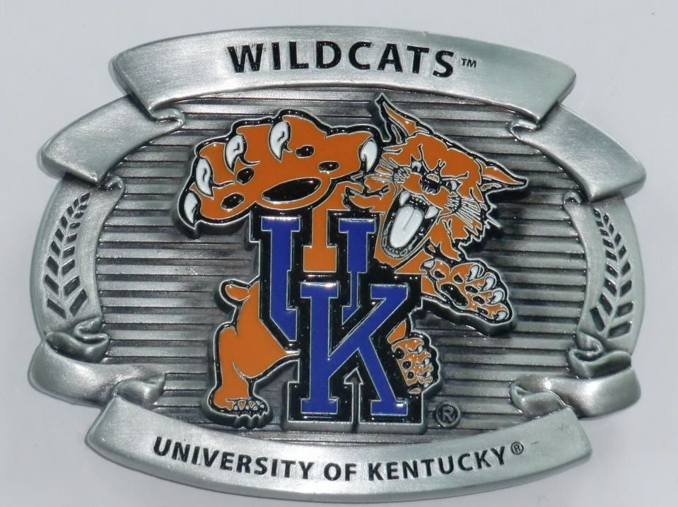 "Kentucky Wildcats Over-sized 4"" Pewter Metal Belt Buckle (NCAA)"