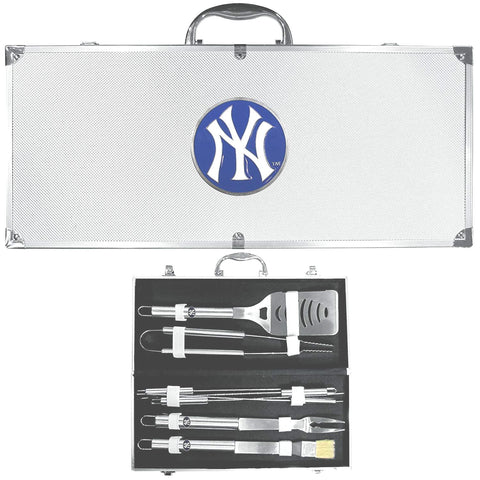 New York Yankees 8 Piece Deluxe Stainless Steel BBQ Set with Case (MLB)