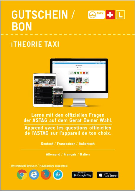 5 Gutscheine iTheorie Taxi zu je CHF 14.25 (inkl. MwSt)/ 5 bons d'achat pour iThéorie Taxi à 14.25 CHF