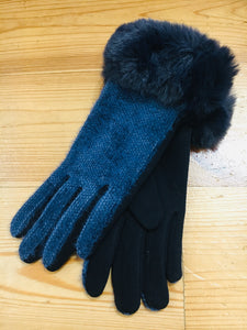 Gloves with Faux Fur Cuff