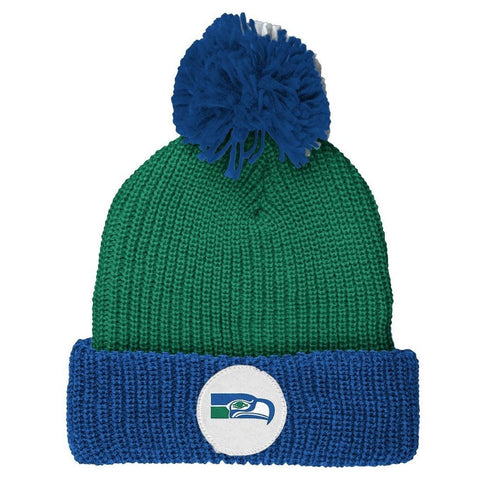 "Seattle Seahawks Vintage ""Retro"" Cuffed Knit Hat w/ Pom"