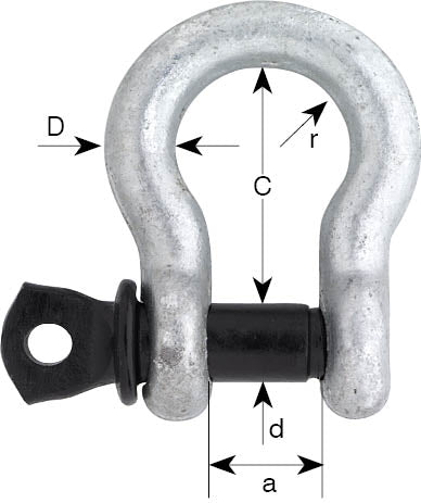 Black Pin US Fed Spec Screw Pin Bow Shackle