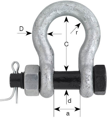 Black Pin US Fed Spec Bow Shackle With Safety Pin