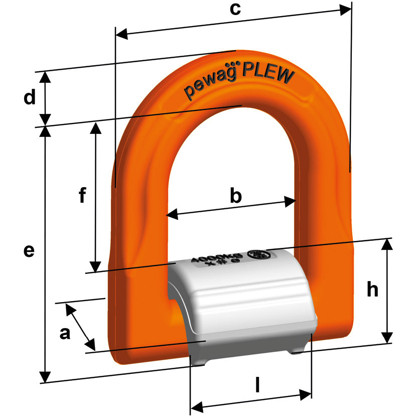 Pewag PLEW Lifting & Lashing Point Dimensions