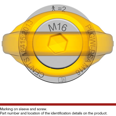 Pewag PLGWI-PSA stainless steel fall protection anchorage eye bolt markings