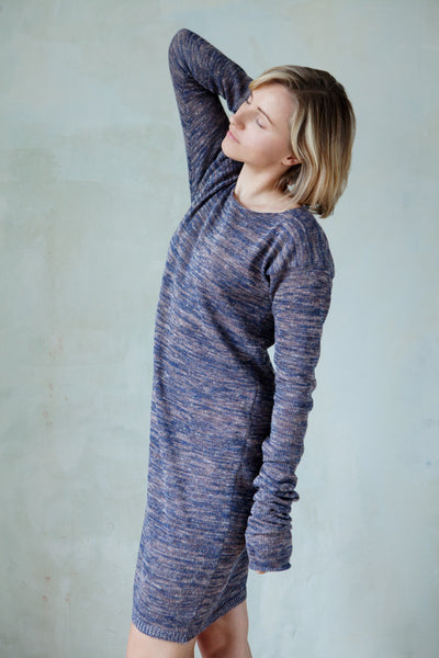 Linen long sleeved marl knit dress with thumb holes