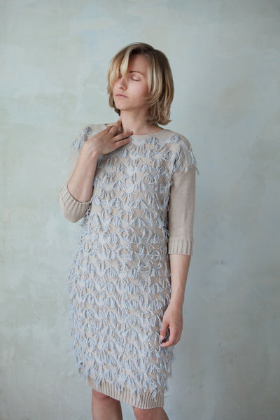 Fuzzy fringed oversized knit dress with pockets