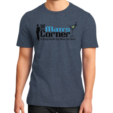 District T-Shirt (on man) Heather navy Man's Corner