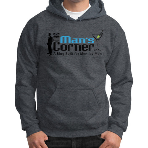 Gildan Hoodie (on man) Dark heather Man's Corner
