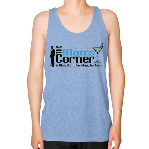 Unisex Fine Jersey Tank (on man) Tri-Blend Blue Man's Corner