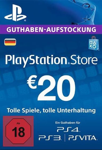 PlayStation Network [PSN] | Cash Card | 20 EURO | German - www.15digits.co.uk