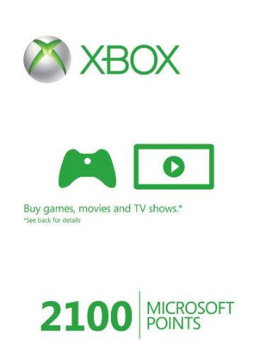 Xbox Live Gold | Cash Card | 2100 Microsoft Points