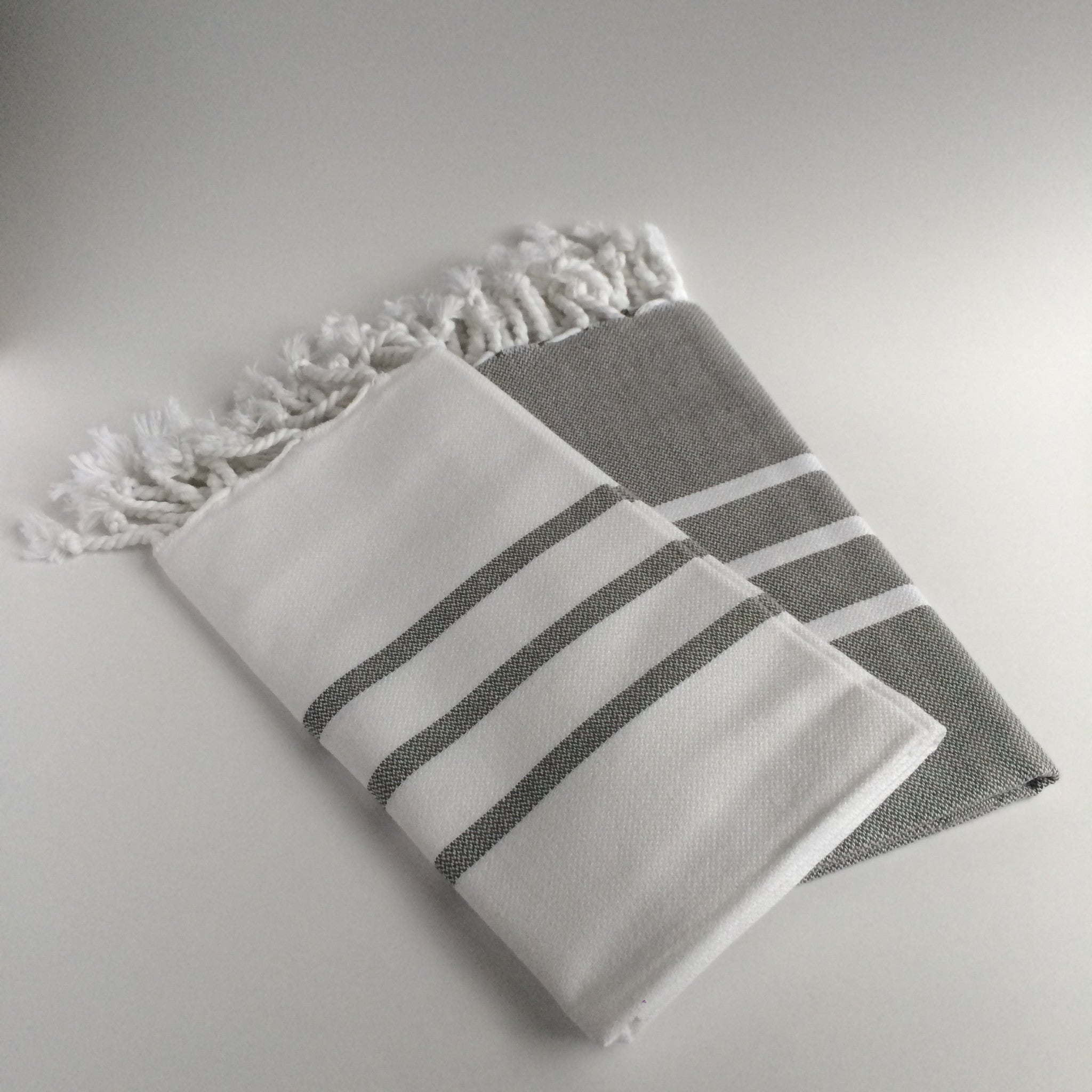 3 Stripe Turkish Cotton Hand Towel Peshtemal 20x40 Set Of 2 Tudor Way