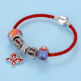 Lovely Butterfly Charm Red Leather Wrap Bracelet - DHUAHU LLC - 2