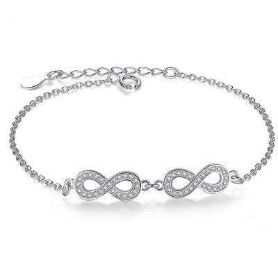Sterling Silver Infinity Link Chain Bracelet European Style - DHUAHU LLC - 1