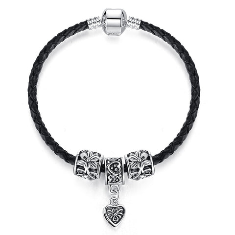 Antique Silver Plated Heart Charm Leather Bracelet - DHUAHU LLC - 1