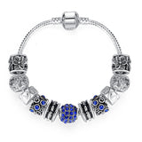 Blue Crystal Ball Charm Bracelet - DHUAHU LLC - 1