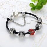 Black Leather Bracelet Red/Blue Crystal Charm Bids - DHUAHU LLC - 3