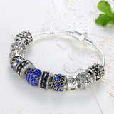 Blue Crystal Ball Charm Bracelet - DHUAHU LLC - 2