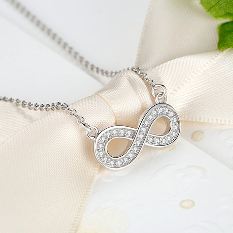 Silver Sterling Infiny Pendant Necklace - DHUAHU LLC - 1