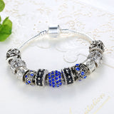 Blue Crystal Ball Charm Bracelet - DHUAHU LLC - 3