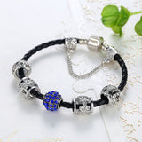 Black Leather Bracelet Red/Blue Crystal Charm Bids - DHUAHU LLC - 4