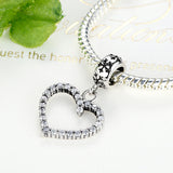 Exquisite Antique Silver Hollow Heart Dangle Charm fit Pandora Bracelet - DHUAHU LLC - 2