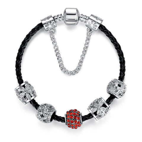 Black Leather Bracelet Red/Blue Crystal Charm Bids - DHUAHU LLC - 1