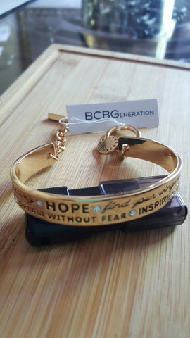 BCBGeneration Gold - Tone HOPE Bangle Bracelet - DHUAHU LLC - 1