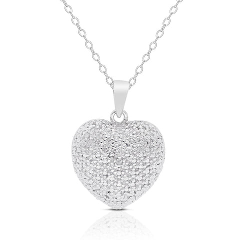 Finesque Sterling Silver Diamond Accent Heart Necklace - DHUAHU LLC - 1