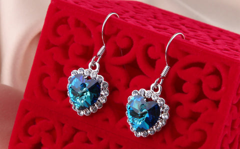 Heart of Ocean Earring 18K Platinum Plated with Austrian SWA Element - DHUAHU LLC - 1