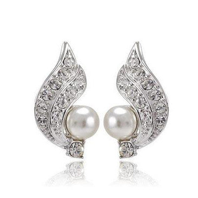 White Pearl Earring with Austrian Crystal - DHUAHU LLC - 1