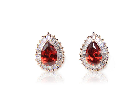 Luxurious Red Crystal Earrings - DHUAHU LLC - 1