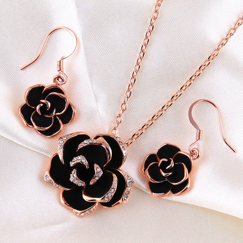 Black Rose Gold Necklace Earrings Set - DHUAHU LLC - 1