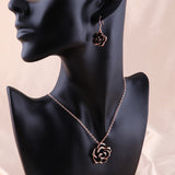 Black Rose Gold Necklace Earrings Set - DHUAHU LLC - 3