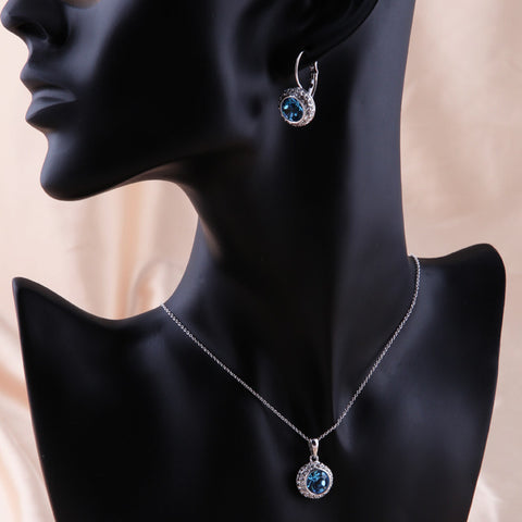 Blue Moon River 18K Platinum Plated Jewelry Necklace Earring Set - DHUAHU LLC - 1