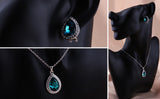 Luxurious Water Drop Blue Crystal Platinum Plated Jewelry Necklace Earring Set Rhinestone - DHUAHU LLC - 4